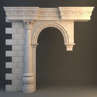 Stone Column & Arch 3D Model