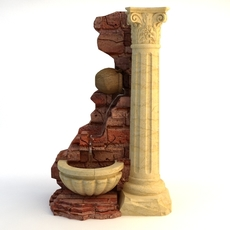 Fountain & Stone Column 3D Model
