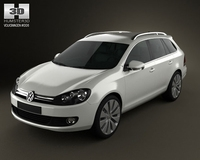 VolksWagen Golf Variant 2010 3D Model