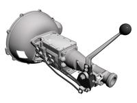 Ford 4-Speed Toploader Transmission & Shifter 3D Model