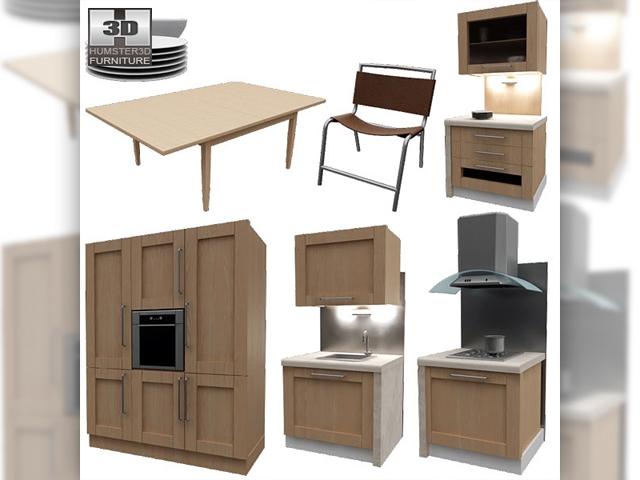Kitchen set i1 3d model for 60s kitchen set