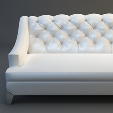 White Sofa Tufted Back 3D Model