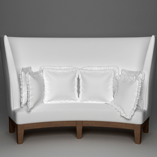 Curved High Back Sofa 3D Model