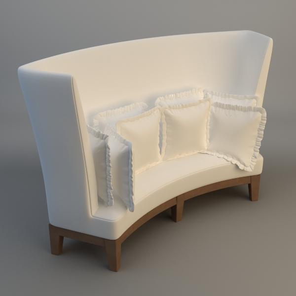 Curved High Back Sofa 3d Model