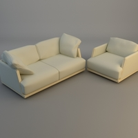 Sofa and Armchair 3D Model