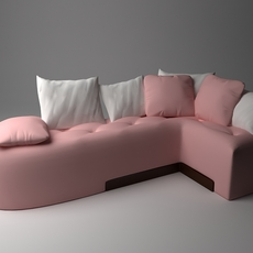Pink Corner Sofa 3D Model