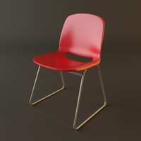 Red Plastic Armless Chair Stackable 3D Model