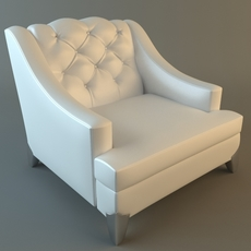 White Armchair Tufted Back 3D Model