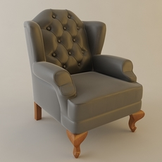 Wing Chair Tufted Back 3D Model