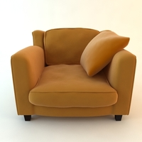 Orange Armchair with Throw Pillow 3D Model