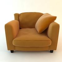 Orange Armchair with Throw Pillow 3D Model