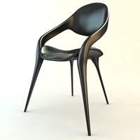Black Plastic Chair Stackable 3D Model