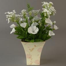 White Flower Bouquet in Vase 3D Model