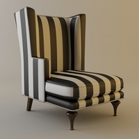 High-Back Zebra Chair 3D Model