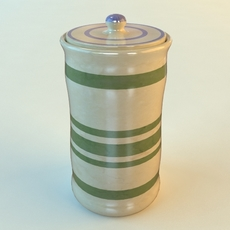 Ceramic Canister with Lid 3D Model