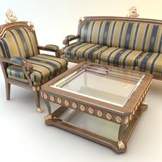 Table, Armchair & Divan Set 3D Model