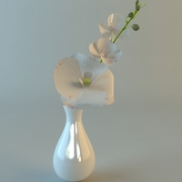 White Vase with Flowers 3D Model