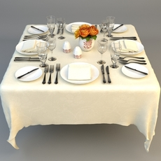 Dining Table Place Settings 3D Model