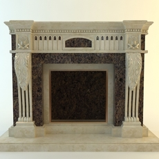 Traditional Style Fireplace 3D Model