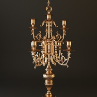 Ornate Antique Brass Candelabrum 3D Model