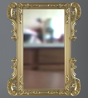 Gold Rectangular Wall Mirror 3D Model