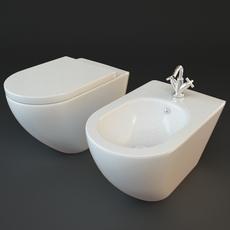 Toilet & Bidet 3D Model