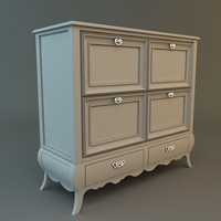 Antique White Dresser 3D Model