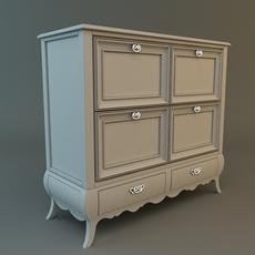 Antique White Dresser 3D Model