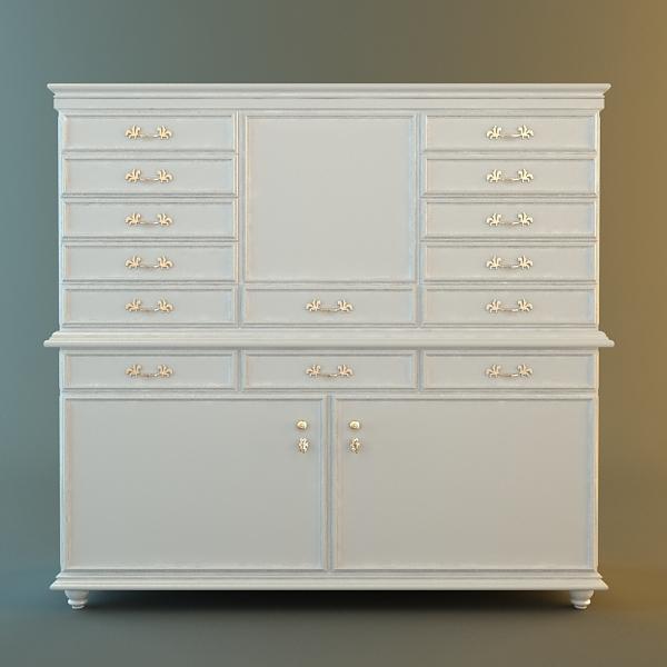 Antique White Drawer Storage Cabinet 3D Model
