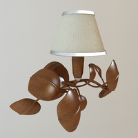 Sconce Lamp with wooden leaves 3D Model