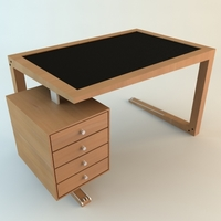 Contemporary Wooden Desk 3D Model
