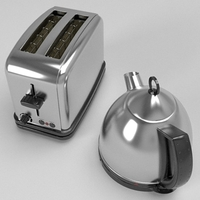 Kettle & Toaster set 3D Model