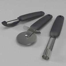 Apple corer - pizza slicer - potato peeler 3D Model