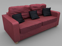 Sofa - Wine Red Fabric 3D Model