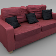 Sofa - Wine Red Fabric 3D Model