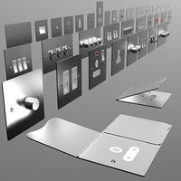 UK electrical switches & sockets pack - flush metal 3D Model