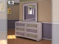 Ashley Sandhill Dresser & Mirror 3D Model