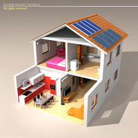 House cutaway two floor 3D Model