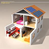 House cutaway two floor 3D Model