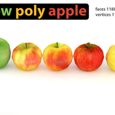 Low Poly Apples Pack 3D Model
