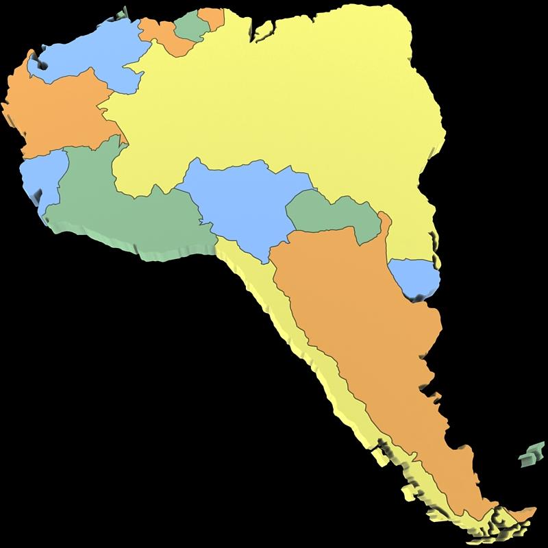 World Map 3d Model.South America Map 3d Model