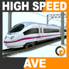 High Speed Train - AVE Siemens Velaro with Interior 3D Model