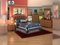 Ashley Benjamin Panel Bedroom Set 3D Model