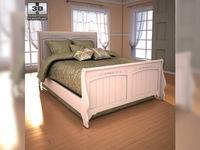 Ashley Cottage Retreat Full Sleigh Bed 3D Model