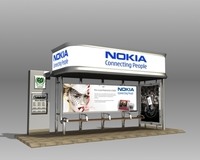 Bus Stop Shelter Nokia Brand 3D Model