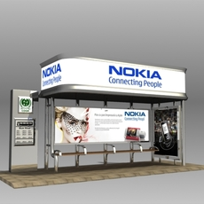 Bus Stop Shelter Nokia Brand 3D Model