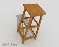 Wood Stool 3D Model