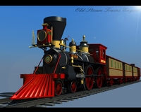 Old Steam Trains Engine 3D Model