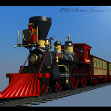 Old Steam Trains Engine 3D Model