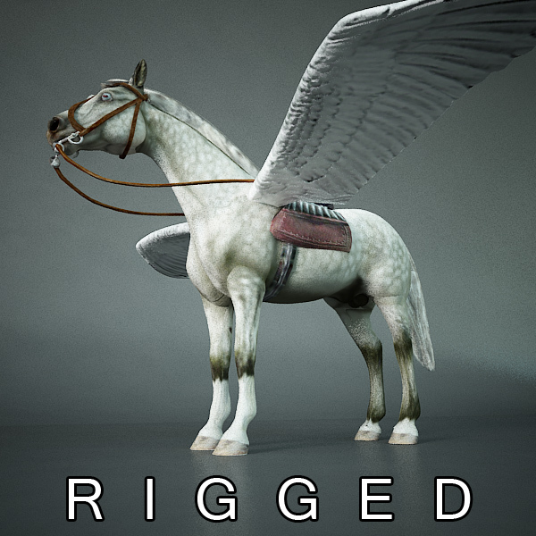 Pegasus (white horse with wings) 3D Model